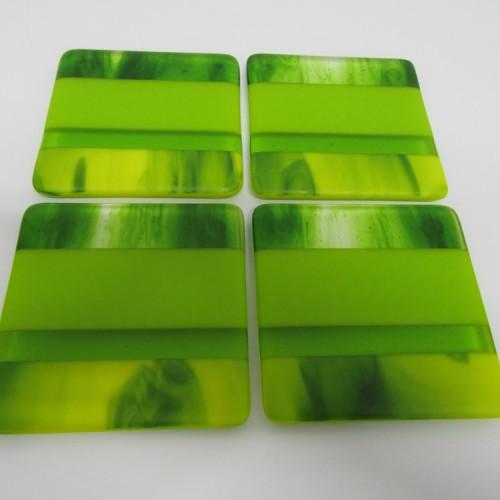 streaky spring green coasters