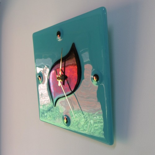 turquoise & iridescent wall clock (2)
