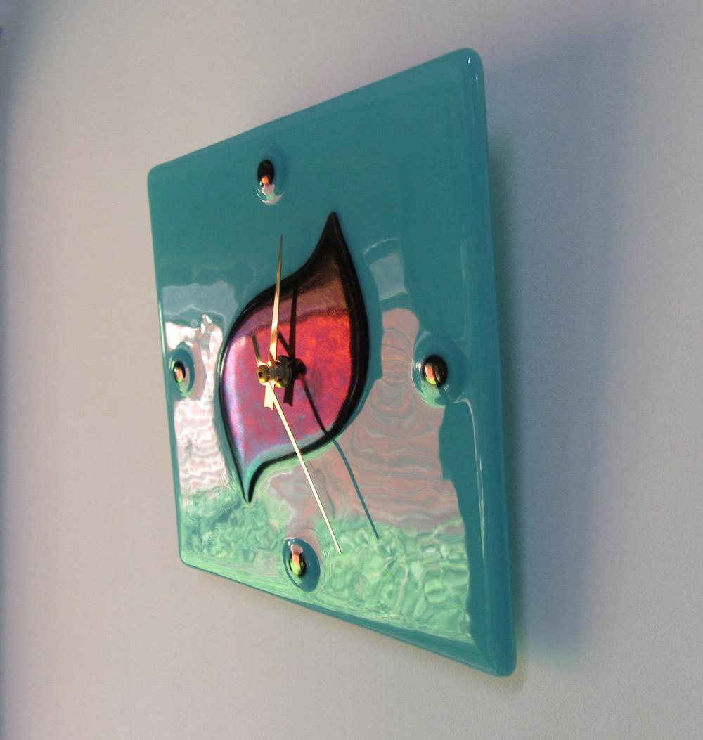 turquoise & iridescent wall clock (2)